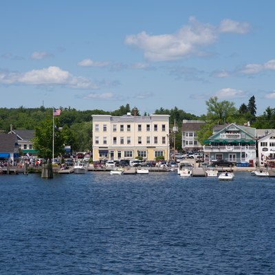 View of the town docks of Wolfeboro, New Hampshire, also showing some of the local restaurants and the gazebo by Cate Park.