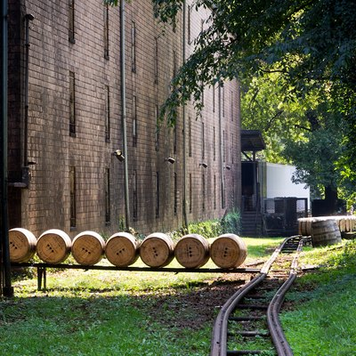 Recently filled barrels of Woodford Reserve bourbon outside of the rickhouse, where they will be stacked and stored during the aging process