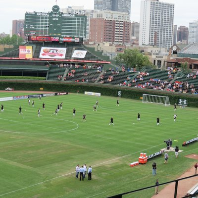 Zagłębie Lubin players practice ahead of their friendly match vs A.S. Roma at Wrigley Field in Chicago.