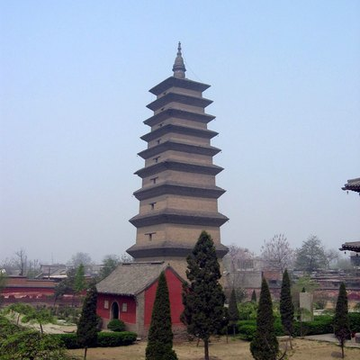 Photograph of the Xumi Pagoda, Zhengding, Hebei Province, China. The pagoda was built in 636 AD during the Tang Dynasty, and stands at a height of 48 m (157 ft). Photograph taken on April 18, 2005 by Rolf Müller.
