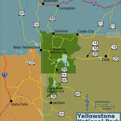 Yellowstone National Park area map, created by Ryan Holliday [1]. PNG generated from File:Yellowstone-area-map.svg. Based on open source data from OpenStreetMap [2] and public domain information from nps.gov [3].