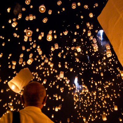 A big festival, where thousands of Khom Loi (sky lanterns) are floated in to the air during a Buddhist ceremony, is held a few days ahead of the actual Loy Krathong/Yi Peng festival in San Sai district near Maejo University, some 20 km north of Chiang Mai, Thailand. Apparently, this festival will be held on a smaller scale on the 24th of October, 2009, again in San Sai municipality.