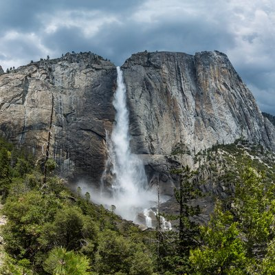 Upper Yosemite Falls as viewed from the trail leading to the top of the falls.