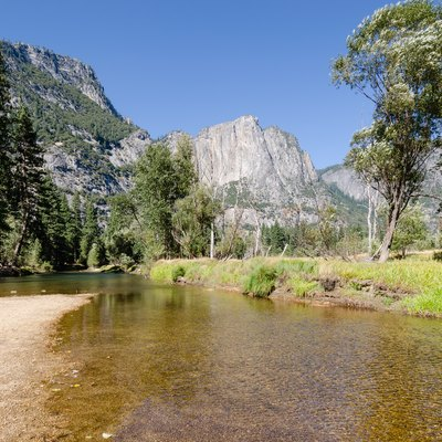 Merced River in Yosemite Valley photographed from Swinging Bridge