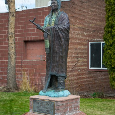 A statue of Young Chief Joseph in Enterprise, Oregon