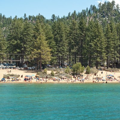 People on the beach at Zephyr Cove, on the Nevada (eastern) side of Lake Tahoe.