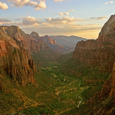 Zion Canyon at sunset in Zion National Park as seen from Angels Landing looking south.
