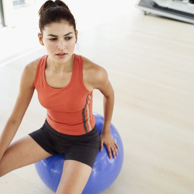 An exercise ball is a handy tool for the gliding motion of the lateral shift.