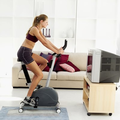 An exercise bike can be used at home or at the gym.