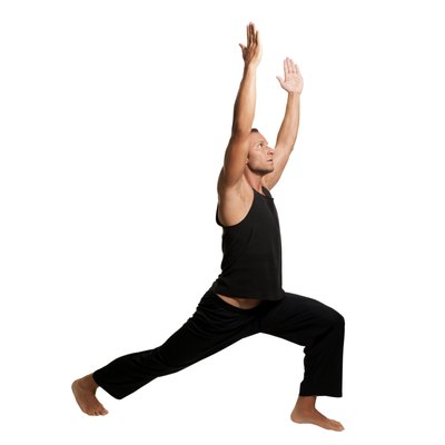 High lunge position stretches out tight hip flexors.