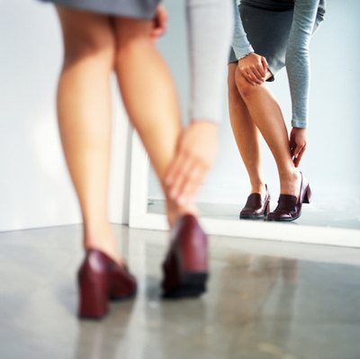 High heels may aggravate calf soreness.