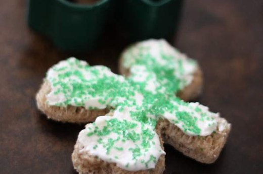 Shamrock Toast with Cream Cheese & Sprinkles