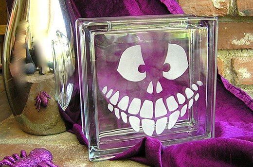 Halloween Etched Glass Block