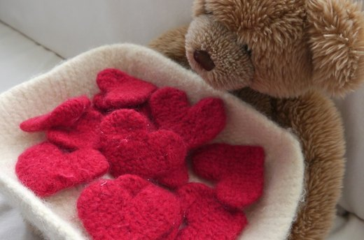 Felted Basket of Hearts