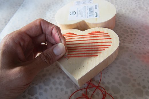 Embroidered heart box- horizontally stitch