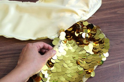 Pull the Sequin Fabric Right Side Out