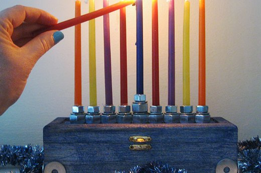 How to Make Creative Hardware Menorahs