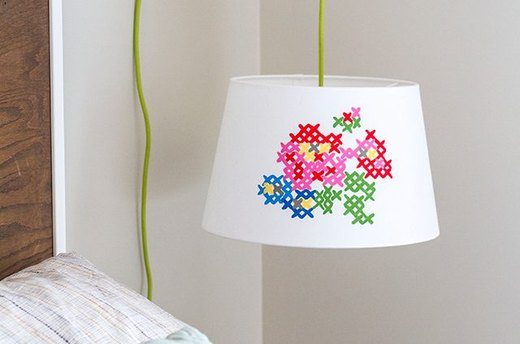Make a Faux Cross-Stitch Lampshade
