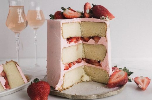 Sparkling Strawberry Rosé Cake