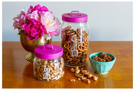 Etched Glass Pantry Jars