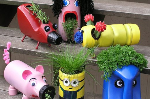 Kid-Inspired Upcycled Plastic Planters
