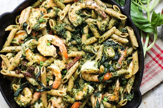 Whole Wheat Shrimp Pesto Pasta
