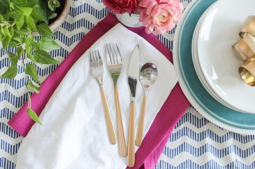 Gold-Handled Flatware for a Romantic Evening