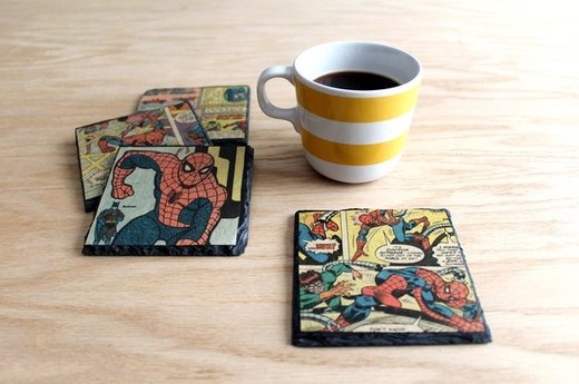 Vintage Comic Book Slate Coaster for a Night In