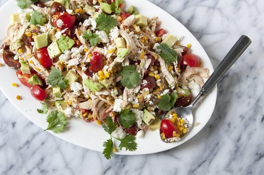 Charred Corn with Chicken and Cheese Salad