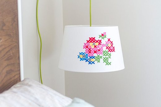 Faux Cross-Stitch Lamp
