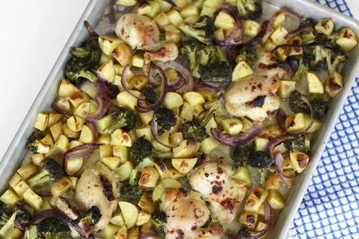Sheet Pan Chicken with Broccoli, Potatoes and Red Onions