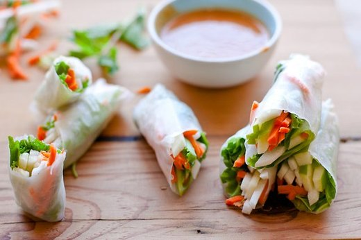 Thai Salad Rolls and Peanut Dipping Sauce