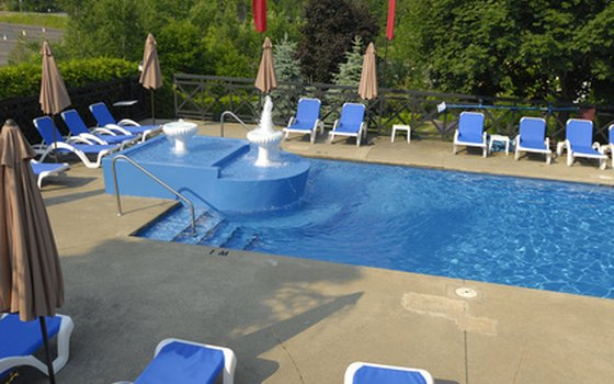 Cool off in one of the four outdoor swimming pools at the Lake George RV Park.