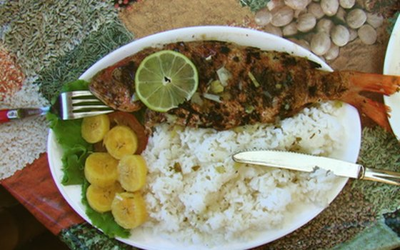 Fish, rice and plantains are standard meals found at diners.