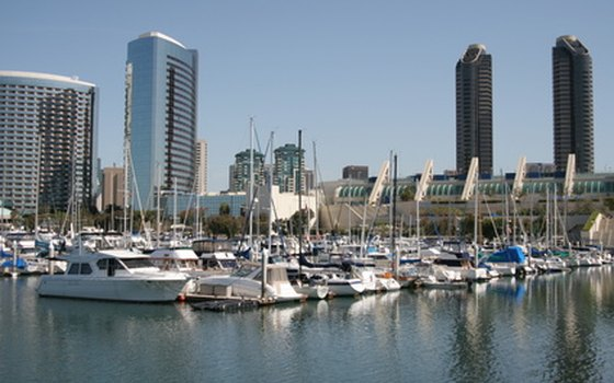 A view from the bay of Seaport Village and downtown San Diego