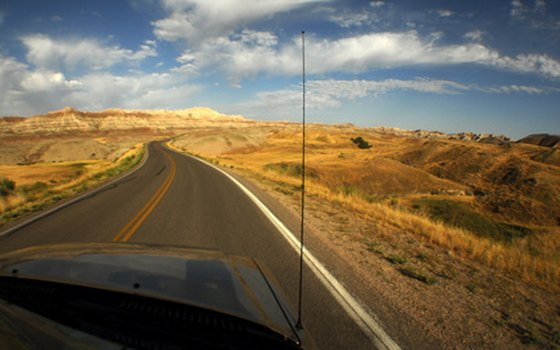 The winding highway through Badlands National Park