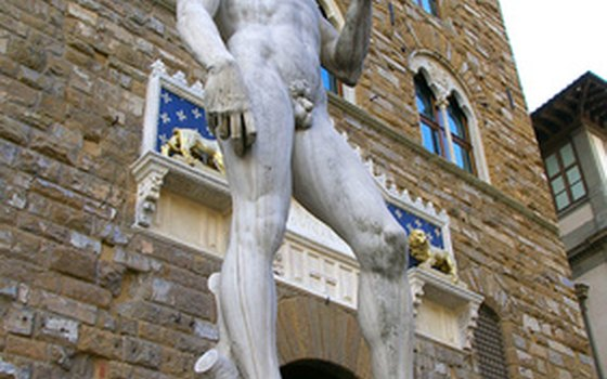Crowds flock to Florence's Piazza della Signoria where a copy of Michelangelo's