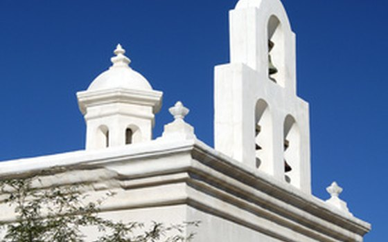 The Mission San Xavier del Bac is about nine miles south of Tucson.