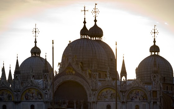 The Basilica di San Marco shows a strong Byzantine influence in its domed roofs and gilded mosaics.