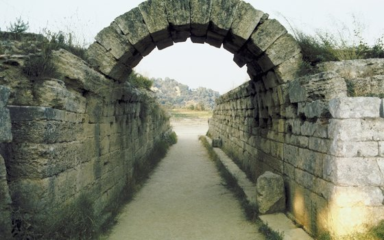 Ancient archway to Olympic Stadium in Greece