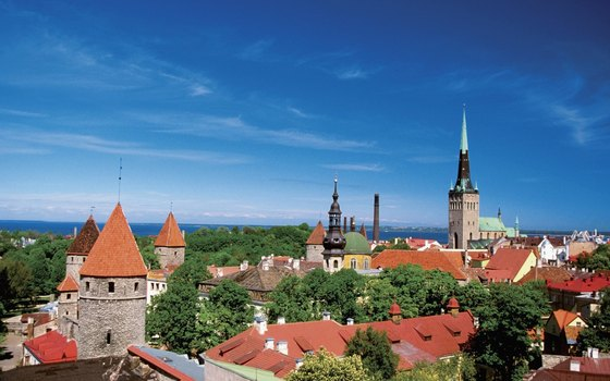 Medieval buildings and cobblestone streets hark back to medieval times in Tallinn, Estonia.