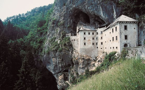 Predjama Castle near Postojna, Slovenia, is built into the mouth of a cave