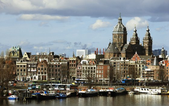 The 19th-century Church of St. Nicholas stands out in Amsterdam's skyline.