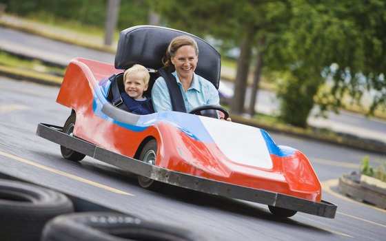 Multilevel go kart tracks make the I-Drive attraction even more exciting.