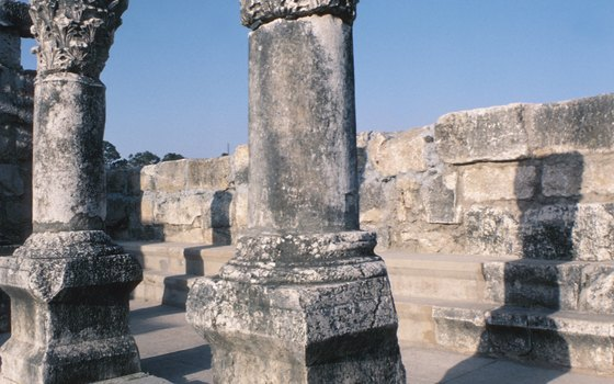 Ruins of an ancient synagogue in Capernaum.