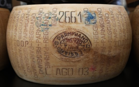 Authentic Parmigiano Reggiano bears the seal of the Parmigiano Reggiano Consortium.