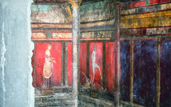 Wall murals in Pompeii are well-preserved.