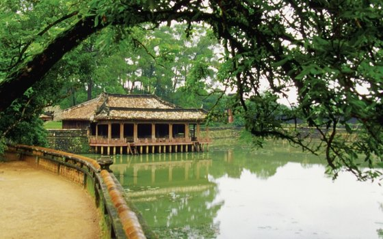 Tu Duc's tomb near Luu Khiem Lake is surrounded by pine forest.