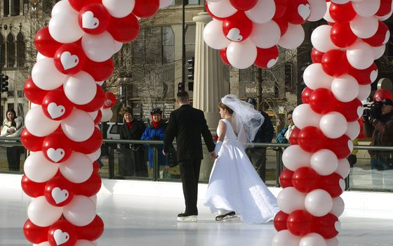 Newlyweds share the love at Millennium Park's ice rink.