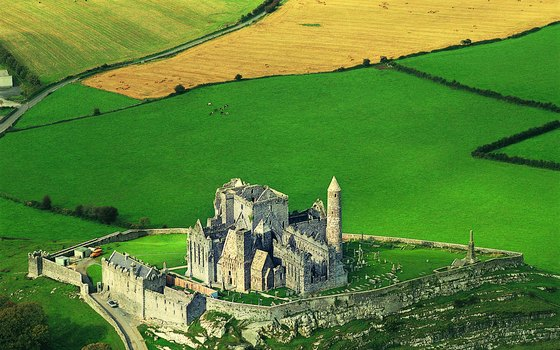 The round tower of Rock of Cashel stands 90 feet high and was the first structure on the site.